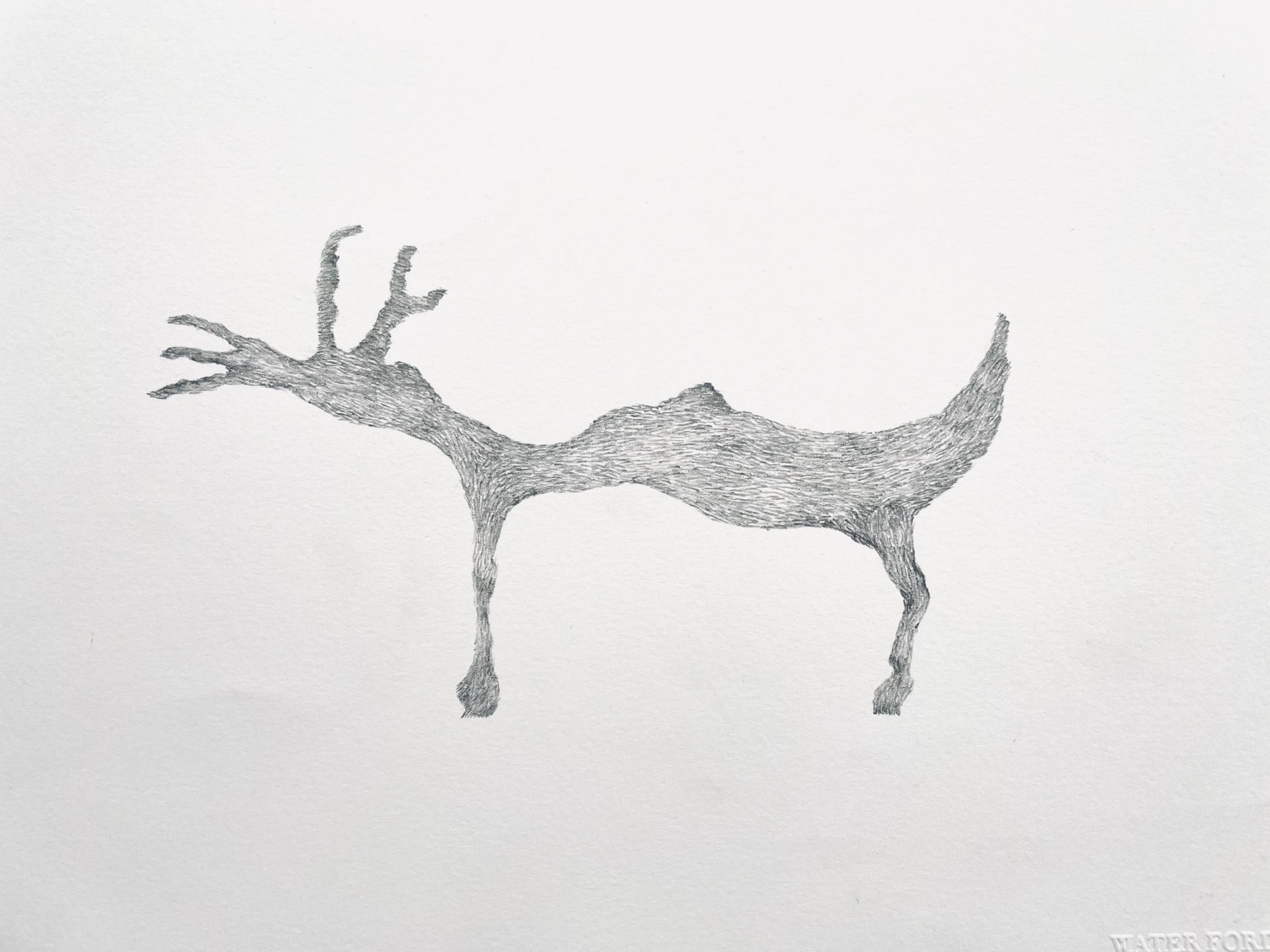In The Woods #6 2020 pencil on paper 76 x 30 cms